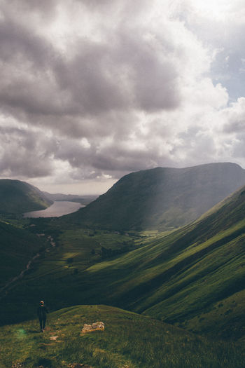 Scenic view of mountains and wastwater lake