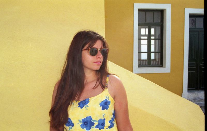 Greece Santorini Paint The Town Yellow All Yellow Architecture Beautiful Woman Long Hair One Person Portrait Yellow Background Yellow Building