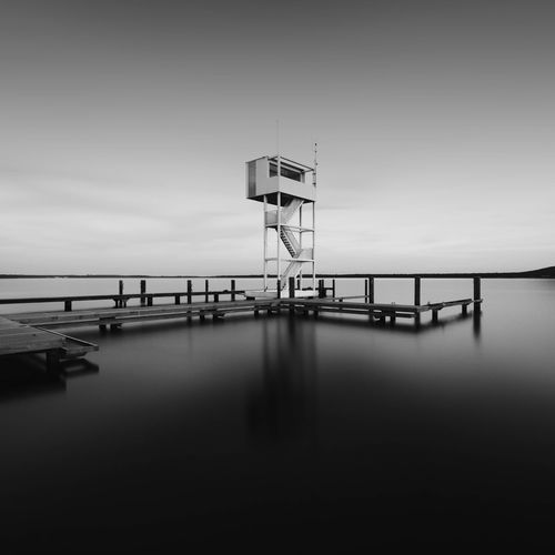 Rescue Tower   Berlin Water Safety Tranquility Protection Outdoors Nature Tranquil Scene Lifeguard Hut Sea Scenics No People Sky Day Beauty In Nature Black & White Fine Art Photography Visitberlin Longexpoelite EyeEm Best Edits Blackandwhite EyeEm Best Shots - Black + White Long Exposure Berlin EyeEm Best Shots EyeEm The Week On EyeEm Discover Berlin Black And White Friday