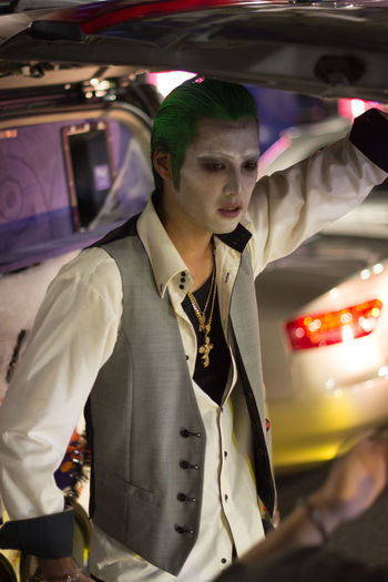 Halloween Shibuya Party, 2018 Travel Photography Halloween Halloween Tokyo Street Shibuya Halloween Party Dressed Up Real People One Person Motor Vehicle Illuminated Well-dressed Suit Up! Joker Face Colourful One Man Young Adult