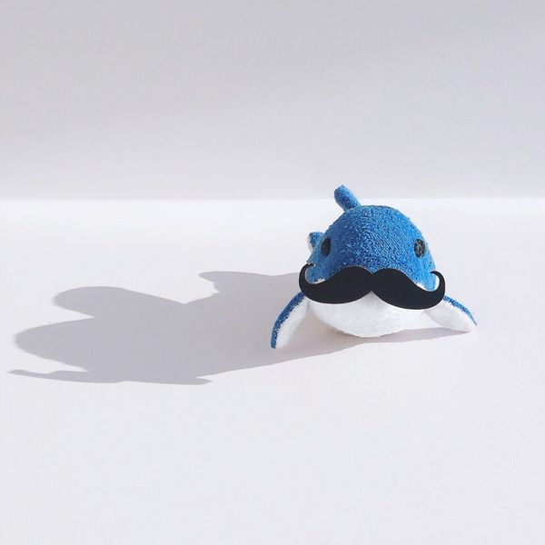 Pado the blue dolphin Art And Craft Creativity Shadow Toy Blue Childhood No People Figurine  Indoors  Paper White Background Stuffed Toy Close-up Day EyeEmNewHere Toyphotography Toys Dolphin Moustache