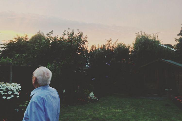 Grandad Sunset Sky Peace Family Enjoying Life