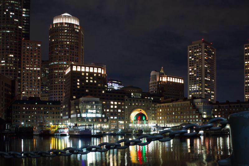 Night Photography Boston, Massachusetts Architecture Building Exterior Built Structure Illuminated City Night Water