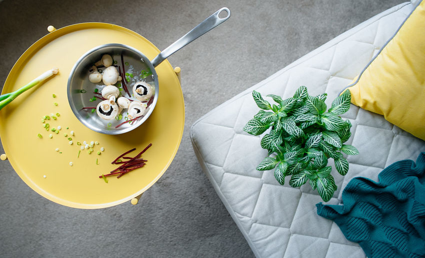 Food Food And Drink Kitchen Utensil Eating Utensil Spoon High Angle View Freshness Healthy Eating Yellow Indoors  Table Wellbeing Close-up Ready-to-eat Holding Herb Bowl Still Life Plate Hand