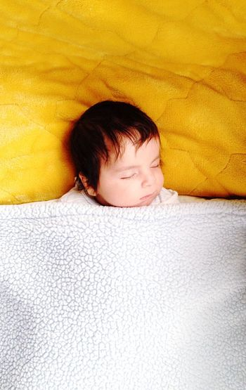Rule Of Thirds Baby Sleeping Infant Sleeping Calm Blue Quilt Yellow Blanket IPhoneography My Best Photo 2015