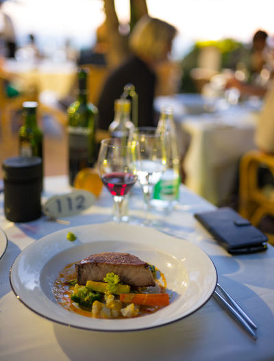 Bottle Costa D'or Dinner Food Food And Drink Mallorca Sunset Tuna Vacations Wine