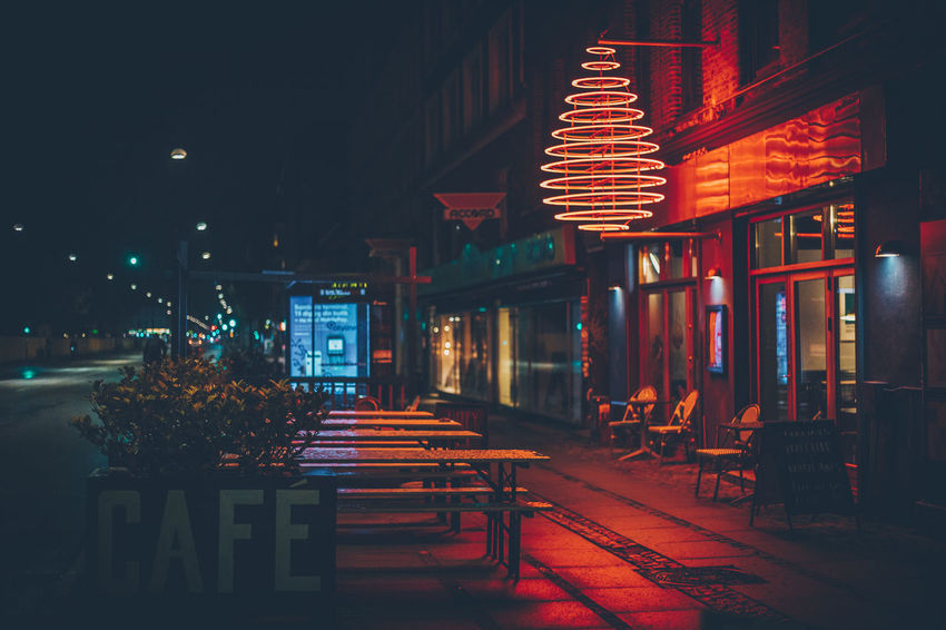 Cafe Neon Neon Color Neon Lights Neon Sign No People Outside Rain Wet