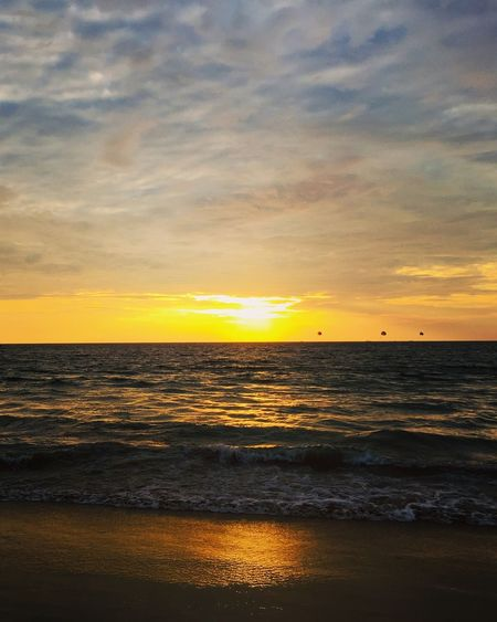 Sunset Sky Water Sea Scenics - Nature Beauty In Nature Horizon Over Water Cloud - Sky Beach Horizon Land Orange Color Tranquility Tranquil Scene Wave Idyllic Nature No People Motion Outdoors