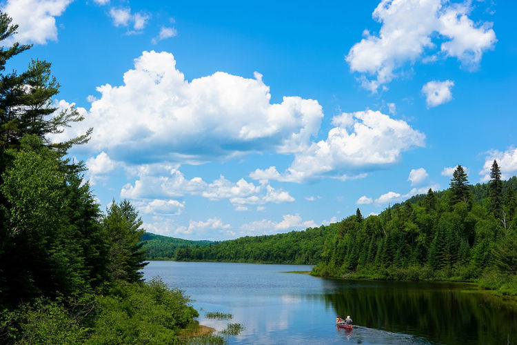 Ac= Beauty In Nature Blue Blue Sky Calm Cloud Cloud - Sky Clouds And Sky Day Growth Idyllic Lake Lake View Nature Non-urban Scene Outdoors Park Quebec Scenics Sky Tranquil Scene Tranquility Tree Water Water Reflections