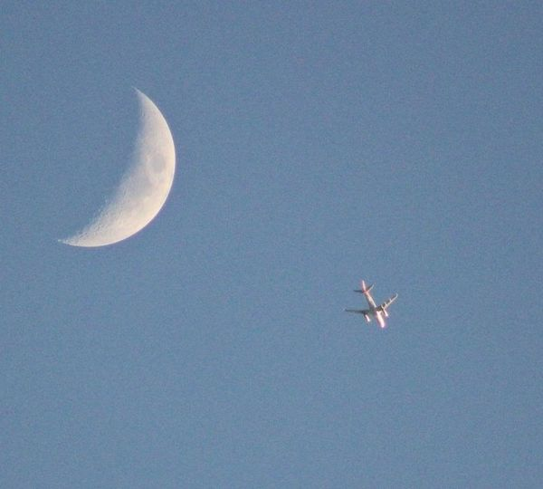 Sky Flying Moon Beauty In Nature Clear Sky Tranquility Tranquil Scene Nature Scenics Night No People Half Moon Outdoors Space Astronomy Beauty In Nature Photographic Memory Photooftheday Canonphotography Canon_photos Camera Life Is My Life! My Hobby 😁 Plane Plane And Moon Camera - Photographic Equipment