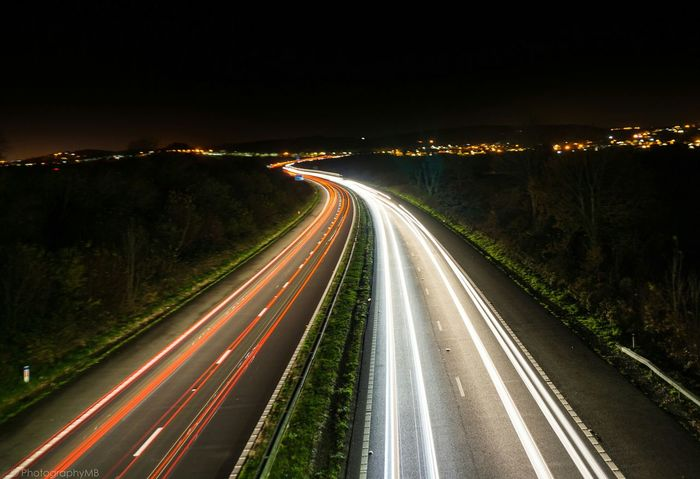Night Drive Night Long Exposure Light Trail Illuminated Traffic Transportation Headlight Speed Driving Car Motion Highway Red Dark Landscape Landscape_photography Longexposure Motion Blur Light Movement