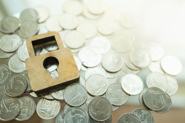 Full frame shot of coins on table