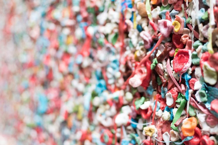 Full frame shot of bubble gums on wall