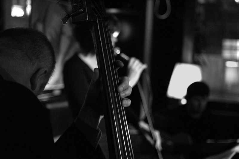 Man Playing Double Bass In Nightclub