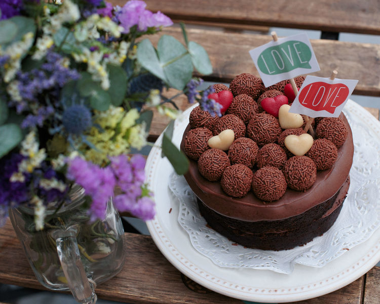 Birthday Cake Chocolate Cake Close-up Communication Day Flower Flowers Food Food And Drink Fragility Freshness Heart Heart Shape Indoors  No People Sweet Food Table Text Wood - Material