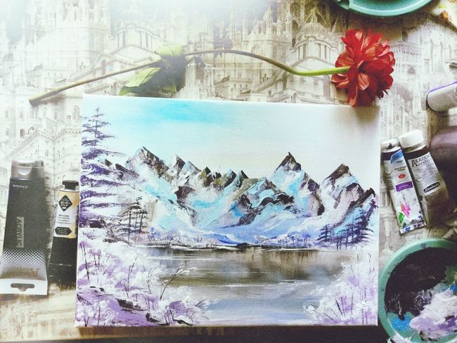 My painting Creativity Painting Multi Colored Rocky Mountains No People Colors Winter Beautiful