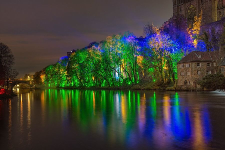 Durham City Riverscape Lumiere Durham Tree Reflection Waterfront Nature Night No People Outdoors Beauty In Nature Illuminated Nikonphotography Nikon_photography Light Show Awesome Long Exposure Photography Awesome_shots Nikond7200 Sigma 18-35 F1.8 Long Exposure Riverside River View Riverbank River