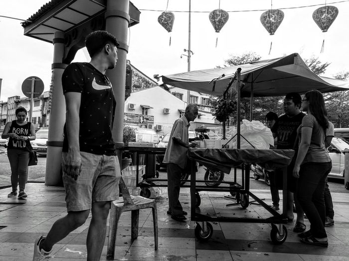 HuaweiP9Photography MonochromePhotography Real People Adult People People Walking  Old Man EyeEm Best Shots - Black + White Street Photography Street City Kuching, Sarawak Indiastreet