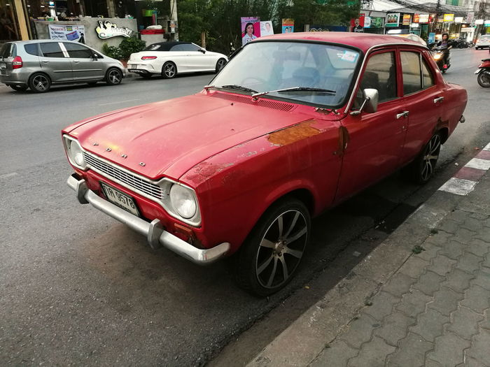 classic City Red Road Land Vehicle Car Crash Street Stationary