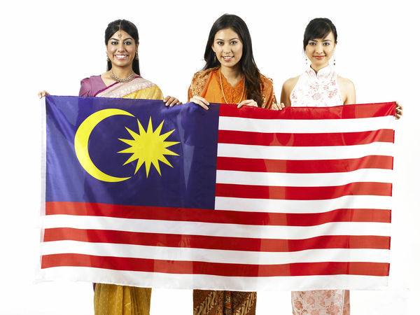 malaysia young woman in traditional costumes Friends Indian National Day Patriotic Traditional Clothing Baju Kebaya Bubby Cheongsam Chinese Friendship Harmony Malay Ethnicity Malaysia Flag Malaysian Merdeka Mixed Race Multi Racial Portrait Racial Sari Together Togetherness United White Background Women