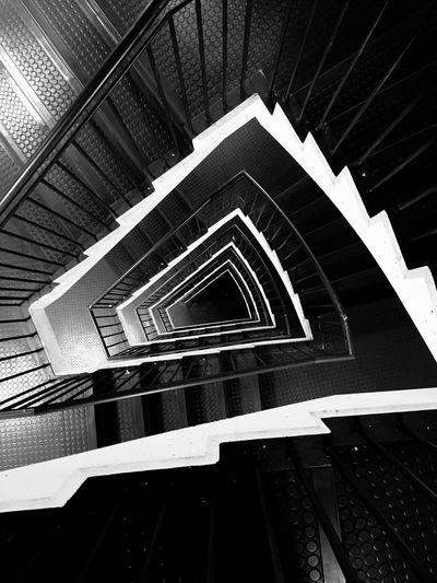 Steps And Staircases Staircase Steps Architecture Railing Spiral Built Structure Design Indoors  Stairs Spiral Stairs High Angle View No People Hand Rail Day City Parkhouse  Blackandwhite