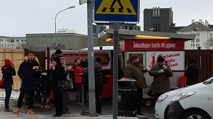 Iceland Reykjavik Hot Dog Stand People Up Close Street Photography