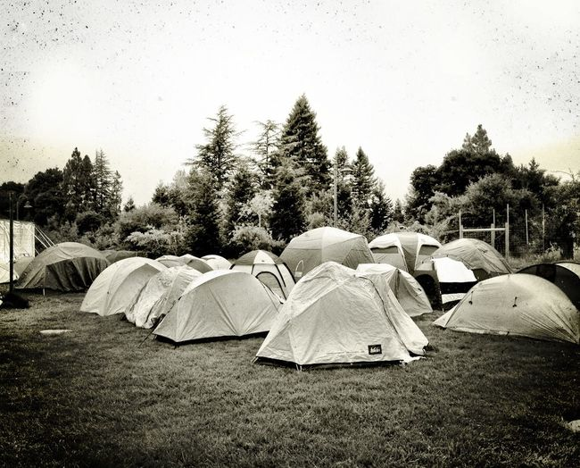temp tent city Camping Blackandwhite Hanging Out Black And White