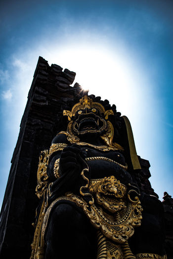 Bali Worship Hinduism Low Angle View Sky Architecture Built Structure Religion Art And Craft Belief Spirituality Sculpture Building The Past Place Of Worship History Representation No People Nature Building Exterior Day Statue Craft Ornate Outdoors