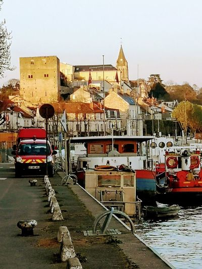 View Of My City Conflans-Sainte-Honorine Church Tower Architecture City Sky Building Exterior Built Structure Boat Vehicle Mode Of Transport Stationary Water Vehicle