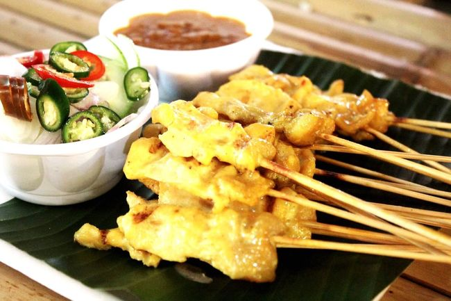 Pork steak!!! Food And Drink Yummy Chile Thai Food Market Delicious Yellow Green Sweet Stick Banana Leaf
