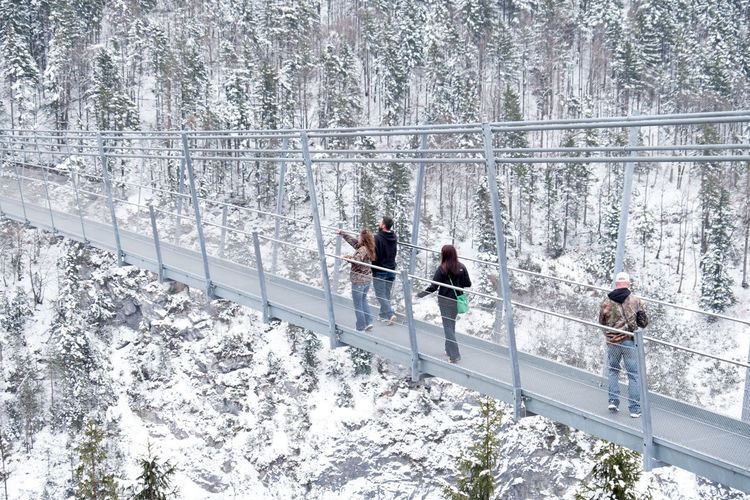 Austria Austria Mountains Wintertime Bridge Expansion Bridge People People Walking  Snow Walking Bridge
