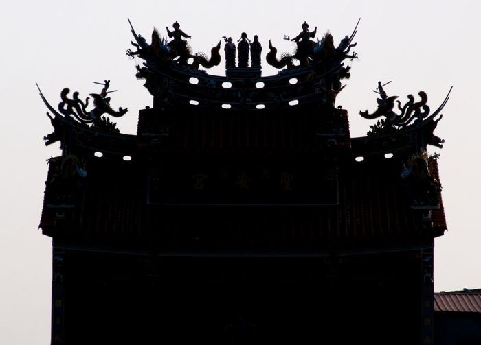 Abstraction of a typical Daoist temple roof, Shimen, Taiwan. Abstract Photography Daoism Shimen District Silhouette Taiwan Tao  Taoism Abstraction Architecture Building Exterior Built Structure Clear Sky Crown Daoist Temple Day Low Angle View No People Outdoors Sculpture Sky Statue White Background The Architect - 2018 EyeEm Awards