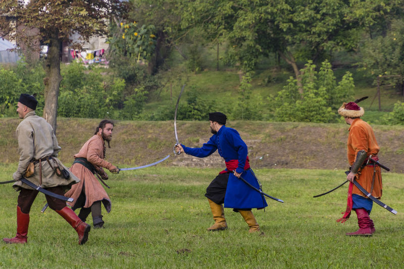 Historical Reconstruction Historical Reenactment Reconstruction Group Soldiers Battle Costumes Fencing People Saber Weapon