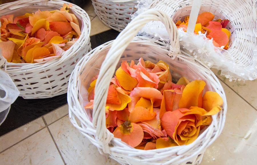 Orange Red Wedding Basket Ceremony Decoration Leaf Roses Roses🌹 Sprinkle