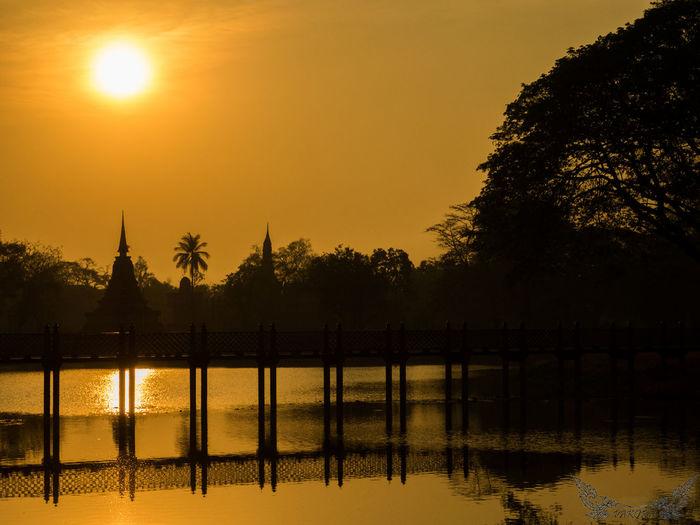 Orange Color Reflection Silhouette Sukhothai Sukhothaihistoricalpark Sun Sunset Thailand Water Sukothai Travel Famous Place Sunset_collection