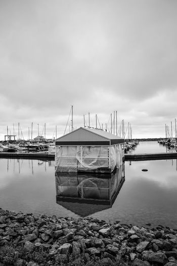 floating lunch hall Blackandwhite Monochrome Mast Marina Nautical Vessel Water Sea Harbor Beach Business Finance And Industry Reflection Industry Sky Horizon Over Water Low Tide