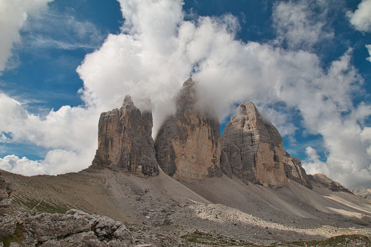 Panoramic view of dolomites against sky