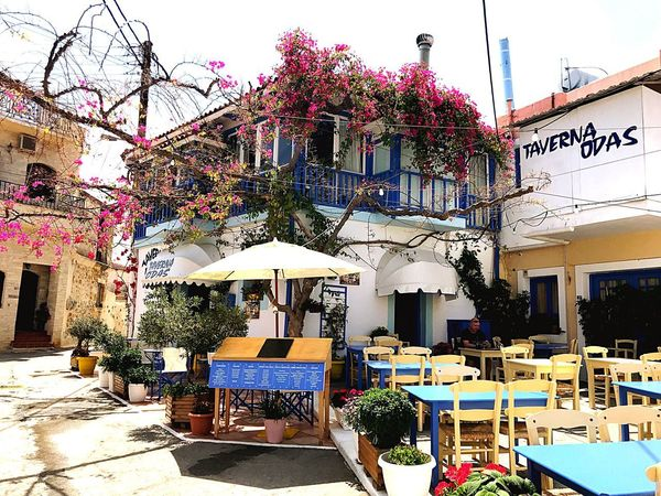 Greek Tavern Odas Vacations Food Food And Drink Tavern  Greece Crete Crete Greece Architecture Building Exterior Built Structure Day Nature Chair Seat Table Building City Decoration Cafe Plant Adventures In The City