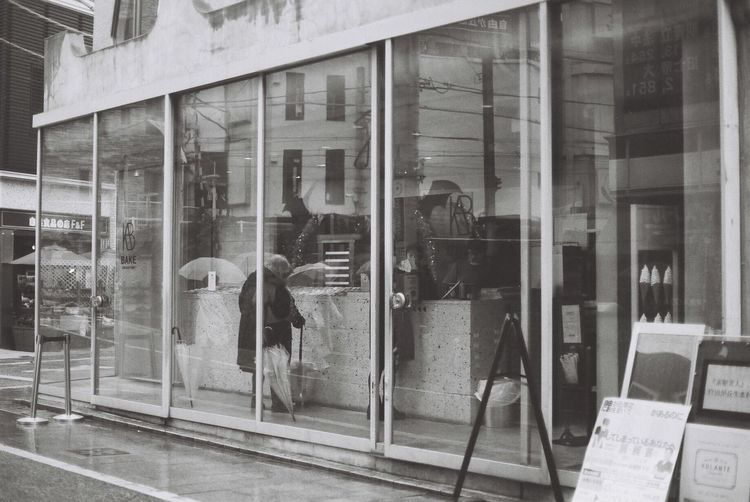Film Photography Filmcamera Filmphoto Rainy Days Store Window Lomography Ladygrey Blackandwhite