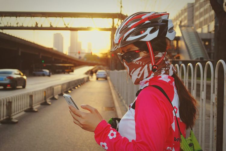 Bycicle Gril Phono Road Glasses Afternoon Outdoors Face With