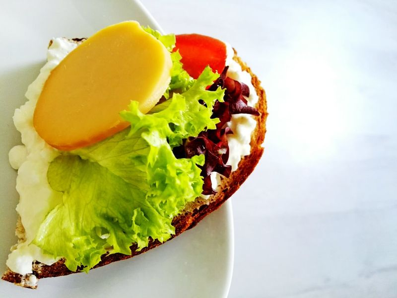 Breakfast time Food And Drink Food Freshness Healthy Eating Indoors  No People Close-up Ready-to-eat Cheese Breakfast Breakfast Time Sandwich Serving Size Appetizer Freshness