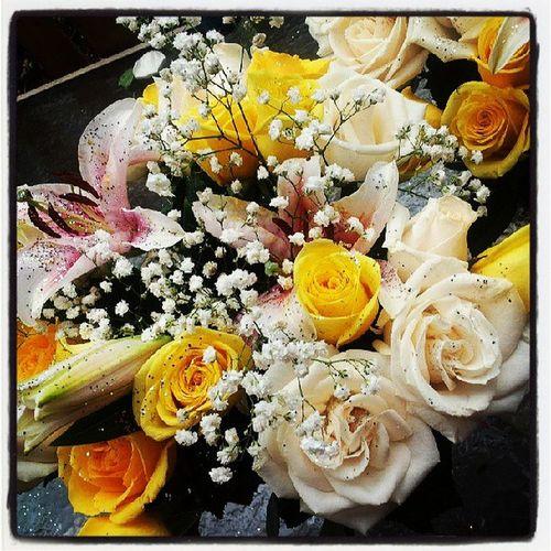 Happy Mother's Day!!! WhiteRoses Yellowroses Stargazerlillies Babysbreath foliage floralarrangement iloveyouMom myMomisthebest