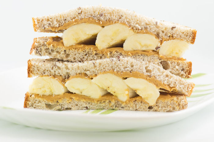 Peanut butter and banana sandwich Banana Banana And Peanutbutter Bread Food Food And Drink Penutbutter Plate Ready-to-eat Sandwiches Sandwichphoto Snack Still Life