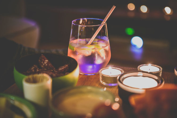 one pink gin tonic! Candles Close-up Cocktail Drink Drinking Glass Food And Drink GIN Gintonic Illuminated Indoors  Night No People Ready-to-eat Cosy Light Cosy Night Party Friends Night Out Family Night Mix Yourself A Good Time Food Stories