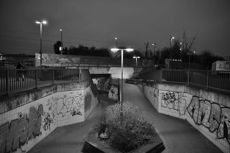 Architecture Bahnhof Brieselang Electric Lamp Electric Light Graffiti Nacht Night No People Outdoors Street Light