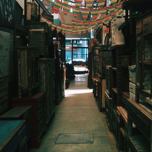 Walkway along crates