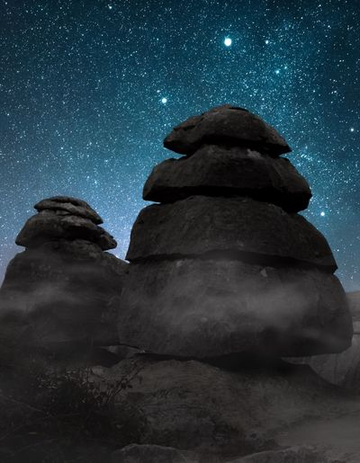 Mystic rock formations of El Torcal covered in fog under a sky full of stars Night Star - Space Astronomy Rock - Object Star Field Sky Nature Beauty In Nature No People Low Angle View Moon Galaxy Milky Way Outdoors Scenics Constellation Space