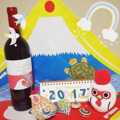 2017 New Year 酉年 Bird Birds Wine Red Wine 2017 カレンダー 干支 ダルマ