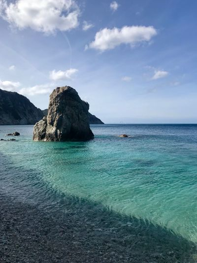 Sea Sky Water Beauty In Nature Scenics - Nature Tranquility Tranquil Scene Rock Cloud - Sky Horizon Horizon Over Water Blue Rock - Object Land Nature Solid Day Rock Formation Waterfront No People