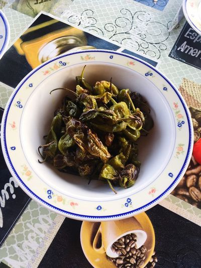 Peppers Majorca Spanish Food Padron Peppers Plate Indoors  Food And Drink Still Life Wellbeing Food Table Ready-to-eat
